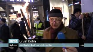 Ervin Kohn er nestleder i Antirasistisk senter, og han demonstrerer mot såkalt ekstremisme, hat og stigmatisering.
