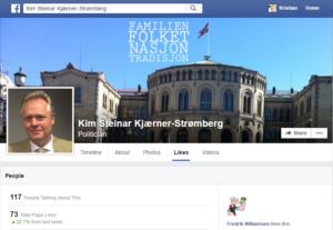 Så vidt jeg kan se er det bare en av mine FB venner som liker politikersiden til Kim Steinar, og det er «Fredrik». Men det må være godt for Kim å ha en anerkjent statsviter blant sine støttespillere som har et meget godt forhold til Asle Toje, Helge Lurås og Jan Arild Snoen.